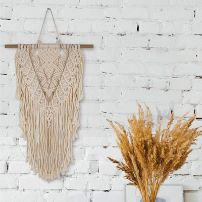 Made Terra General Macrame Wall Hanging Tapestry | Boho Hanging Decoration Art for Home Kitchen , Dorm room - Nordic Pediment Headboard Alternative , Small Space Décor - By MadeTerra