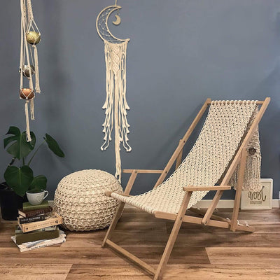 Made Terra Moon Macrame Wall Hanging Tapestry | Boho Hanging Decoration Art for Home Kitchen , Dorm room - Nordic Pediment Headboard Alternative , Small Space Décor - By MadeTerra