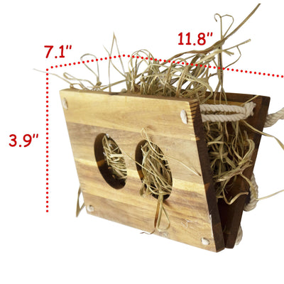 Made Terra Pet Feeder Small Wooden Rabbit Hay Feeder | Food Manger & Dispenser, Hay Grass Rack for Small Pets