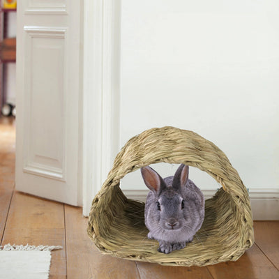 Made Terra Pet House Pet House Tunnel Hutch | Pet-safe Woven Hut for Rabbits, Chinchilla and Small Animals