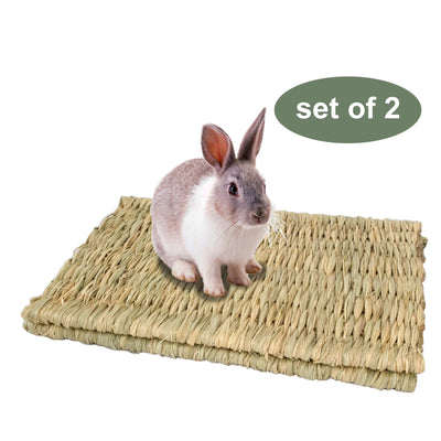 Made Terra Pet Mat Set of 2 Seagrass Pet Mats (Large) | For Small Pets & Protect Paws from Wire Cage