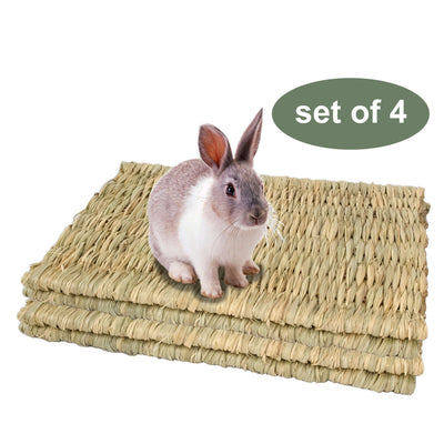 Made Terra Pet Mat Set of 4 Seagrass Pet Mats (Large) | For Small Pets & Protect Paws from Wire Cage