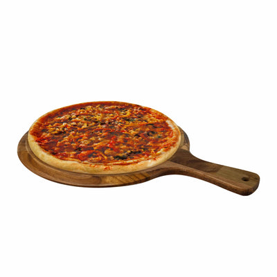 Made Terra Pizza Board Round Acacia Wood Pizza Peel, Serving Pan, Cheese and Charcuterie Board with Handle for Baking, Cutting Pizza, Bread