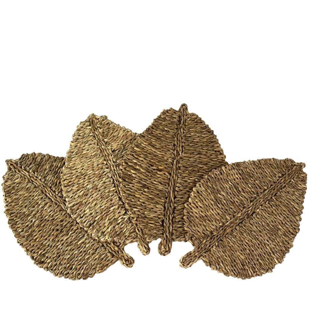 Made Terra Placemats Natural leaf Leaf-shaped Woven Placemats (Set 4) | Plate Mats, Chargers for Dining Table and Party