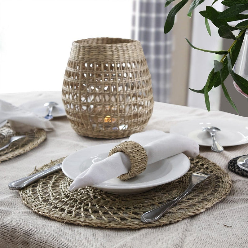 Made Terra Placemats Natural Placemat Round Seagrass Placemat (Set 4) | Rustic Hand Woven Plate Mats for Party, Wedding