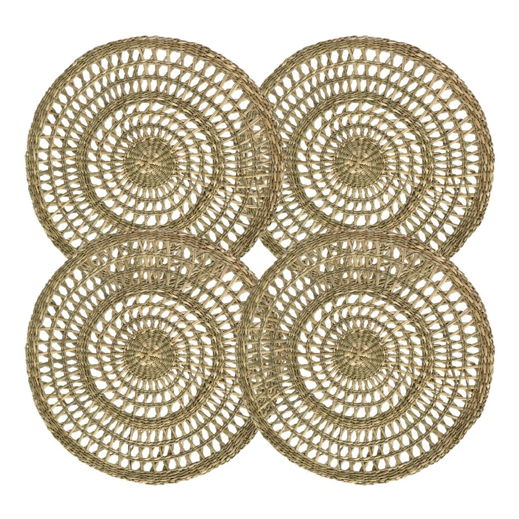 Made Terra Placemats Natural Placemat Round Seagrass Placemats , Table Decoration Charger Plate Alternative (Set 4)
