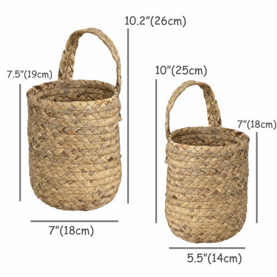 Made Terra Planter Cover Wall Hanging Baskets For Storage & Small Plant Pot Holder (Set 2) | Seagrass Wall Decor Planter Cover