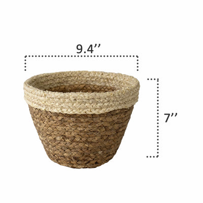 Made Terra Planter Cover Woven Plant Pot Holder Cover | Natural Seagrass Willow Wicker Container for 9 inch Indoor Planter