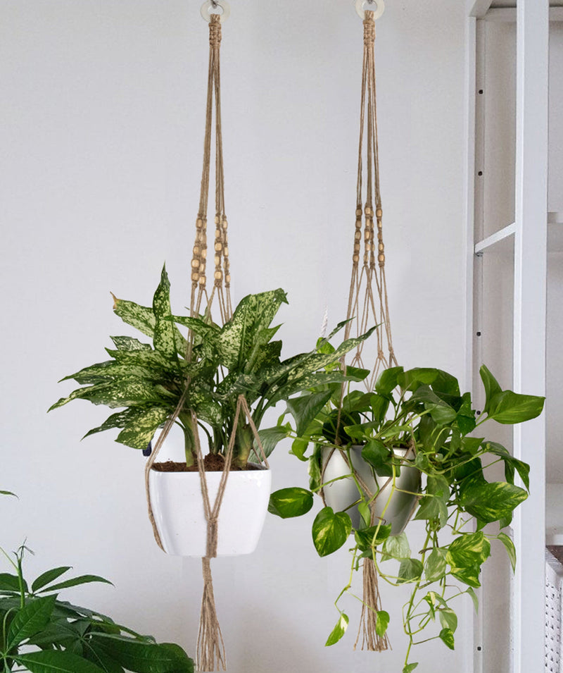 Made Terra Planter Hanger 2 Pack Jute Straw Macrame Plant Hanger With Wood Beads | Hanging Planter Rope (47 Inch, 4 Legs)