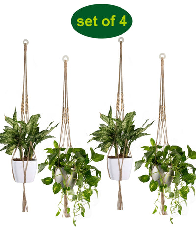 Made Terra Planter Hanger 4 Pack Jute Straw Macrame Plant Hanger With Wood Beads | Hanging Planter Rope (47 Inch, 4 Legs)