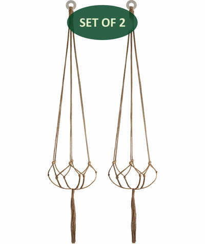 Made Terra Planter Hanger 2 Pack Jute Straw Macrame Planter Hanger | Hanging Planter Rope (47 Inch, 6 Legs)
