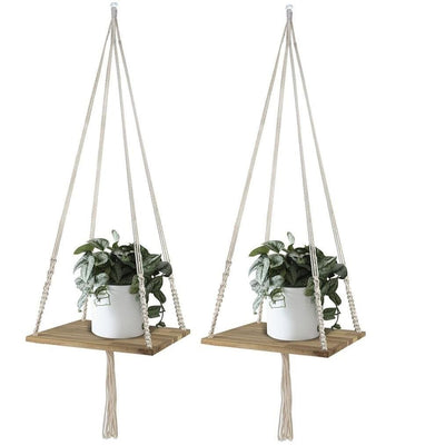 Made Terra Planter Hanger Set 2 Macrame Plant Hangers Shelf | l Hanging Planter for Boho Home Decor