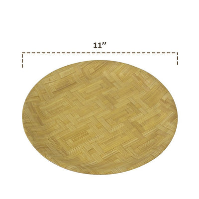 Made Terra Plate Round Bamboo Plate | Anti-bacterial Plate Set for Dining, Breakfast, Coffee