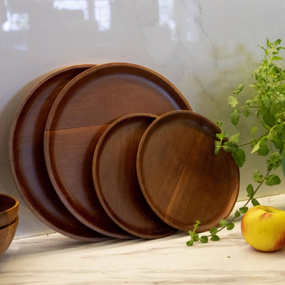 Made Terra Plate Wood Serving Plates (Set 4) | Acacia Wood Salad Plate, Oriental Dining Table