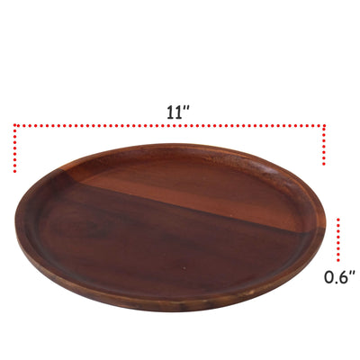 "Made Terra Plate Dia 11"" Wood Serving Plates (Set 4) 