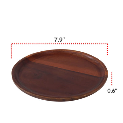 "Made Terra Plate Dia 8"" Wood Serving Plates (Set 4) 