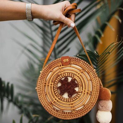 Made Terra Rattan Bag Round Rattan Bag (Drum- 8 Inch)| Summer Beach Crossbody Purse for Women