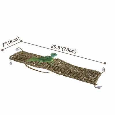 Made Terra Rectangle Reptile Natural Seagrass Hammock Lizard Lounger | Hammock Swing Lounger Toy Hanging Bed for Anoles, Bearded Dragons, Geckos, Iguanas, and Hermit Crabs