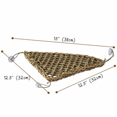 Made Terra Triangle Reptile Natural Seagrass Hammock Lizard Lounger | Hammock Swing Lounger Toy Hanging Bed for Anoles, Bearded Dragons, Geckos, Iguanas, and Hermit Crabs