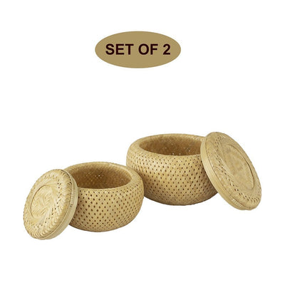 Made Terra Round Basket Round Bamboo Basket with Lid | Set 2 | Handwoven home organizer and serving basket