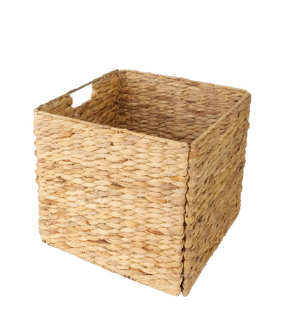 Made Terra Seagrass storage basket Set of 1 12x12 Wicker Storage Cube Basket | Water Hyacinth Storage Bin for Better Organization