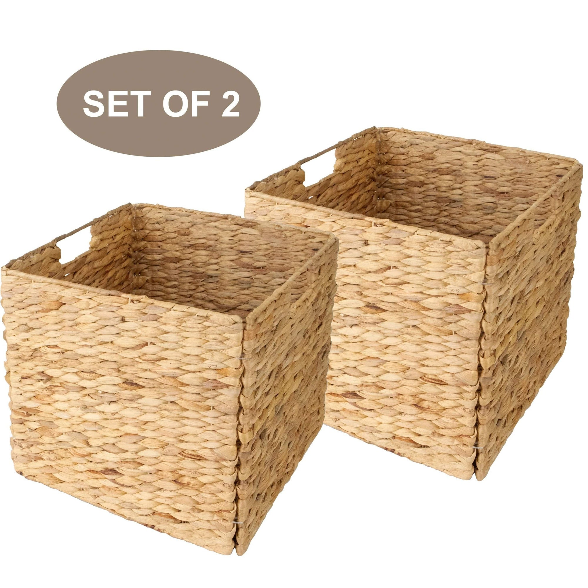 Made Terra Seagrass storage basket Set of 2 12x12 Wicker Storage Cube Basket | Water Hyacinth Storage Bin for Better Organization