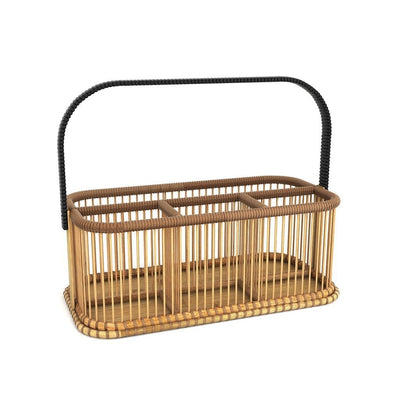 Made Terra Seagrass storage basket Kitchen Condiment Organizer |  Flatware Utensil Cutlery Caddy (Bamboo)