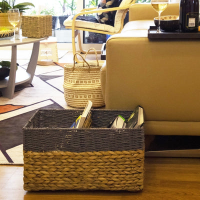 Made Terra Seagrass storage basket Mixed- Color Woven Storage Baskets on wheels | Under Bed Storage -Toy Organizer