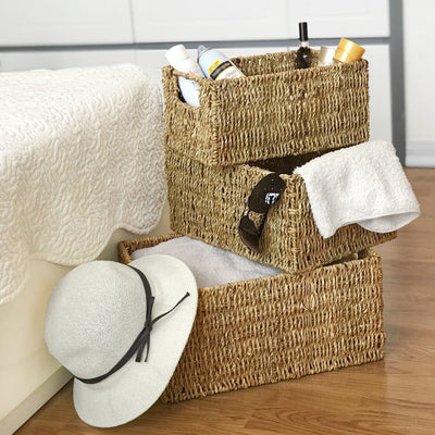Wicker Storage Baskets With Handles (Set 3) | Shelving Bin Closet Organizer