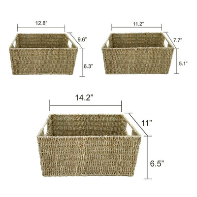 Made Terra Seagrass storage basket Wicker Storage Baskets With Handles (Set 3) | Shelving Bin Closet Organizer
