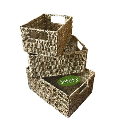 Made Terra Seagrass storage basket Natural Seagrass Wicker Storage Baskets With Handles (Set 3) | Shelving Bin Closet Organizer