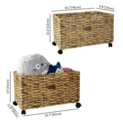 Made Terra Seagrass storage basket Woven Storage Baskets on wheels (Set 2) | Under Counter & Under Desk Storage - Toy Organizer