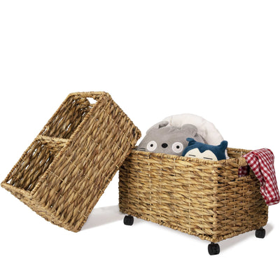 Made Terra Seagrass storage basket Twisted - Water Hyacinth Woven Storage Baskets on wheels (Set 2) | Under Counter & Under Desk Storage - Toy Organizer