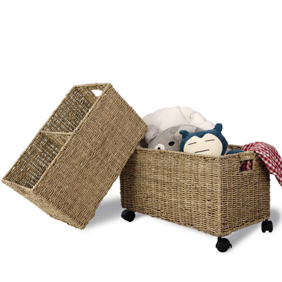Made Terra Seagrass storage basket Wickered - Seagrass Woven Storage Baskets on wheels (Set 2) | Under Counter & Under Desk Storage - Toy Organizer