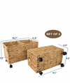 Made Terra Seagrass storage basket Woven Storage Baskets on wheels | Under Bed Storage -Toy Organizer