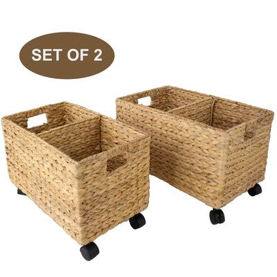 Woven Storage Baskets on rollers wheels (Set 2) | Under Counter & Under Desk Storage - Toy Organizer