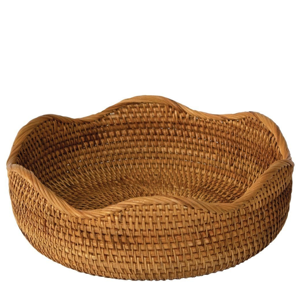 Flower Shaped Bread Basket Bowl Set Round Tabletop Rattan Woven Snac Made Terra