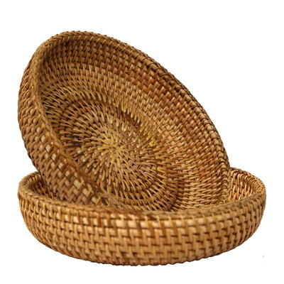 Made Terra Serving basket Rattan Natural / Set 2 Wicker Small Storage Basket | Handwoven Display Basket for Serving or Storage