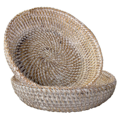 Made Terra Serving basket White Washed / Set 2 Wicker Small Storage Basket | Handwoven Display Basket for Serving or Storage