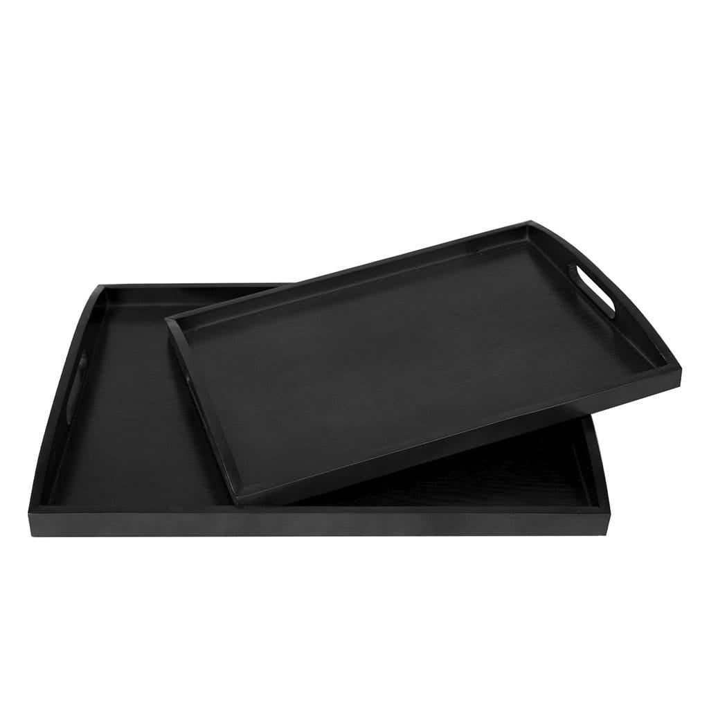 Made Terra Serving Tray Large + Medium Black Wood Serving Tray | Elegant Rustic Decorative Tray for Party, Wedding, Dining Table