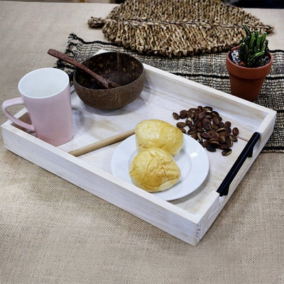 Made Terra Serving Tray Farmhouse Wooden Serving Tray w Handles (Extra-large) | Ottoman Tray,Wood Tray,Wood Serving Tray