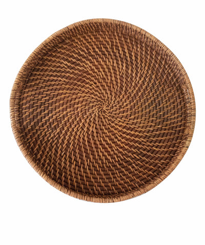 Made Terra Serving Tray Rattan Brown Round Wicker Serving Trays with Handles (18-Inch)| For Serving & Tabletop Display