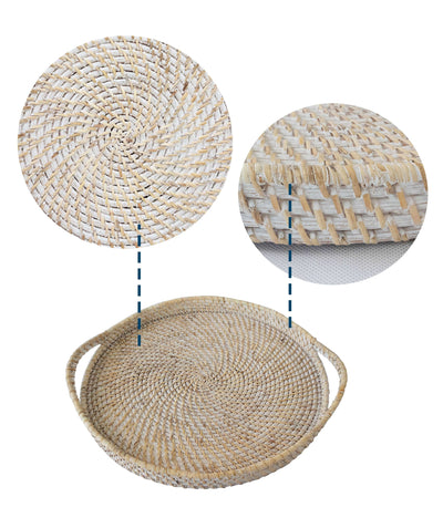 Made Terra Serving Tray Round Wicker Serving Trays with Handles (19-Inch) | For Serving & Tabletop Display