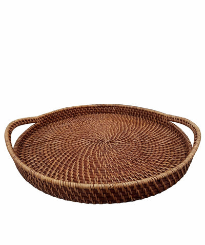 Made Terra Serving Tray Rattan Brown Round Wicker Serving Trays with Handles (19-Inch) | For Serving & Tabletop Display