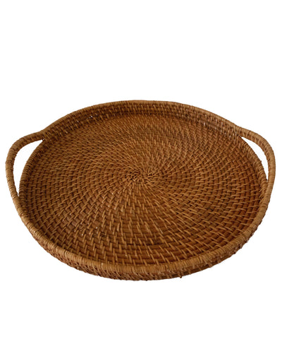 Made Terra Serving Tray Tan Round Wicker Serving Trays with Handles (19-Inch) | For Serving & Tabletop Display