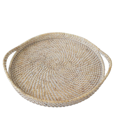 Made Terra Serving Tray White Wash Round Wicker Serving Trays with Handles (19-Inch) | For Serving & Tabletop Display