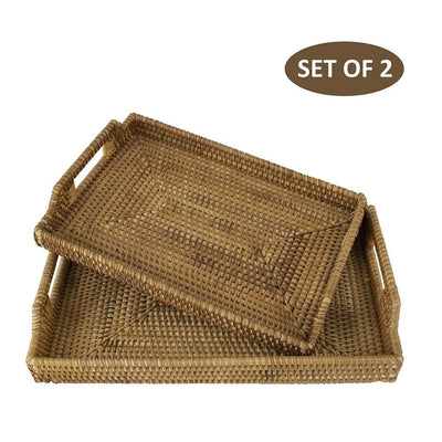 Made Terra Serving Tray Set 2 (Small + Large) Wicker Serving Trays and Platters with Handles | EssentialTableware For Restaurants & Parties