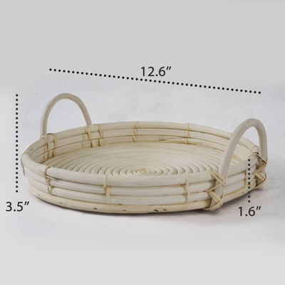 Made Terra Set 2 of Wicker Serving Trays and Coffee Trays with Handles (12-inch) | Hand Woven Serving and Decorative Trays for Kitchen, Living Room and Bathroom