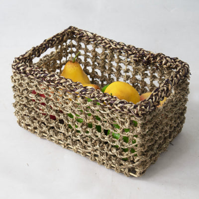 Made Terra Set of 2 Rectangular Nesting Wicker Woven Storage Basket Bins, Decorative Wire Organiser Baskets for Kitchen,Living Room,Bathroom,Nursery, Closet and Bath Beauty Product Organizer (Natural)