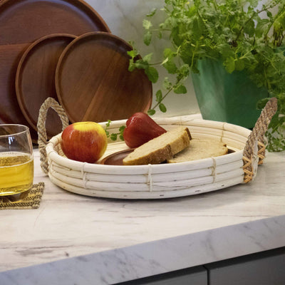 Made Terra Set of 2 Round Wicker Serving Trays and Coffee Trays with Rope Handles
